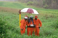 Cathodic protection survey in the rain