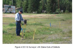 DCVG surveyer with Stake-Outs of Defects